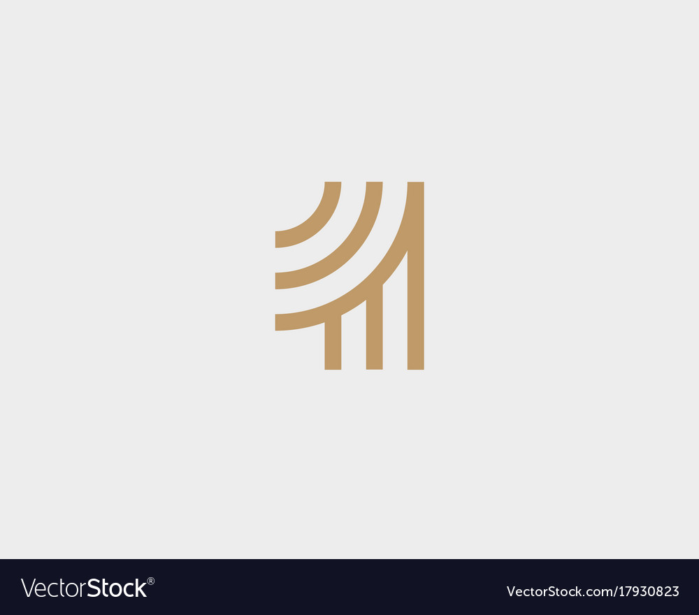 Linear number 1 creative logotype numeral logo