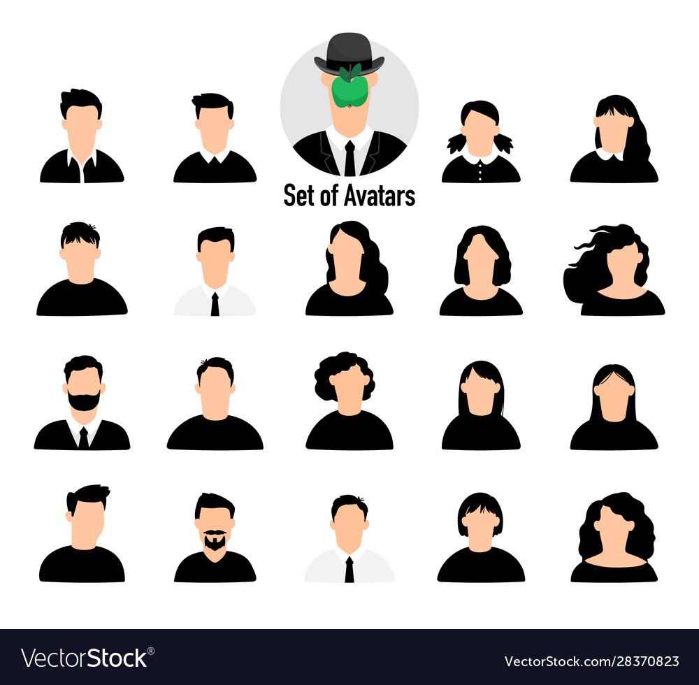 Male and female avatars set vector
