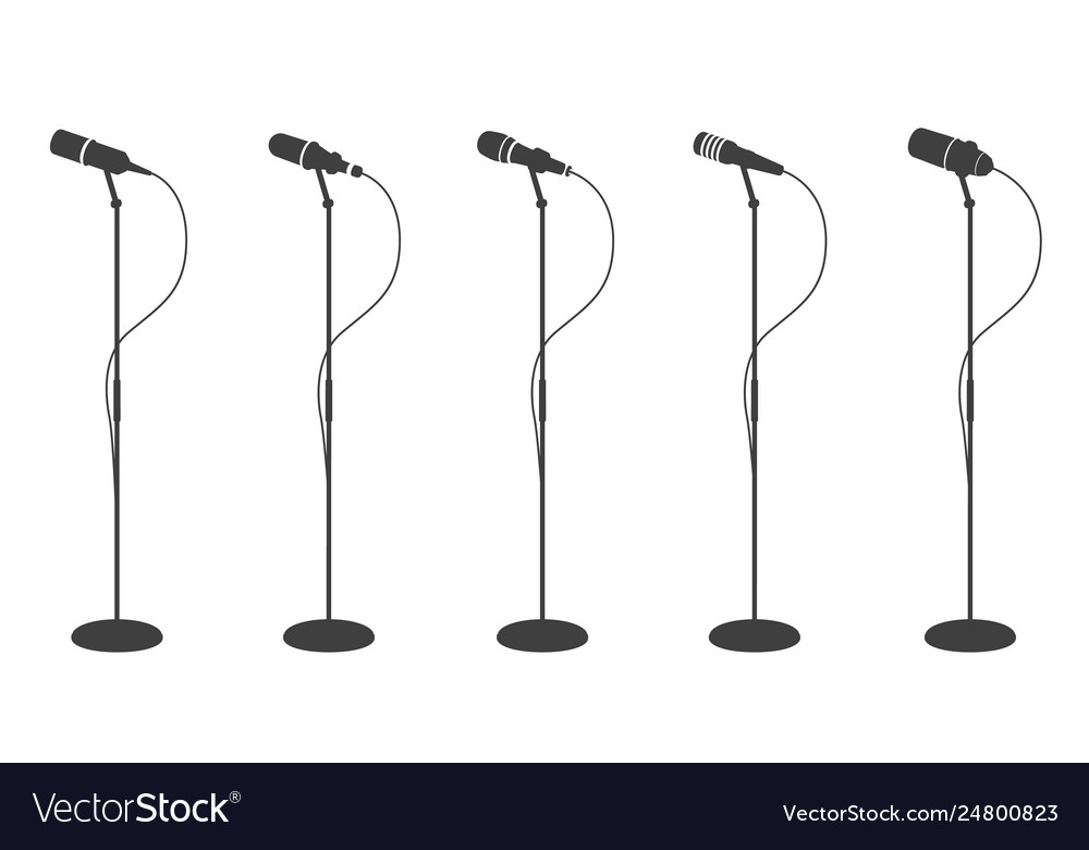 Microphone silhouettes standing microphones audio