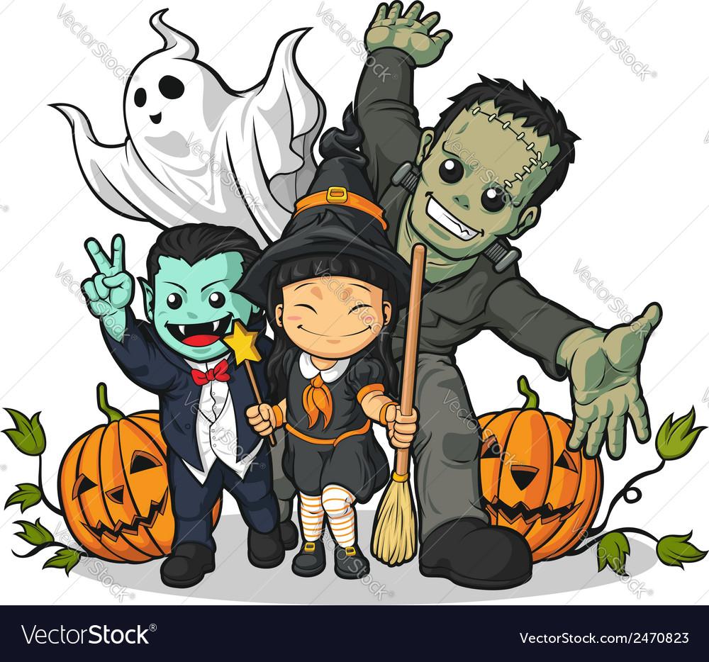 Witch vampire frankenstein ghost pumpkin greeting
