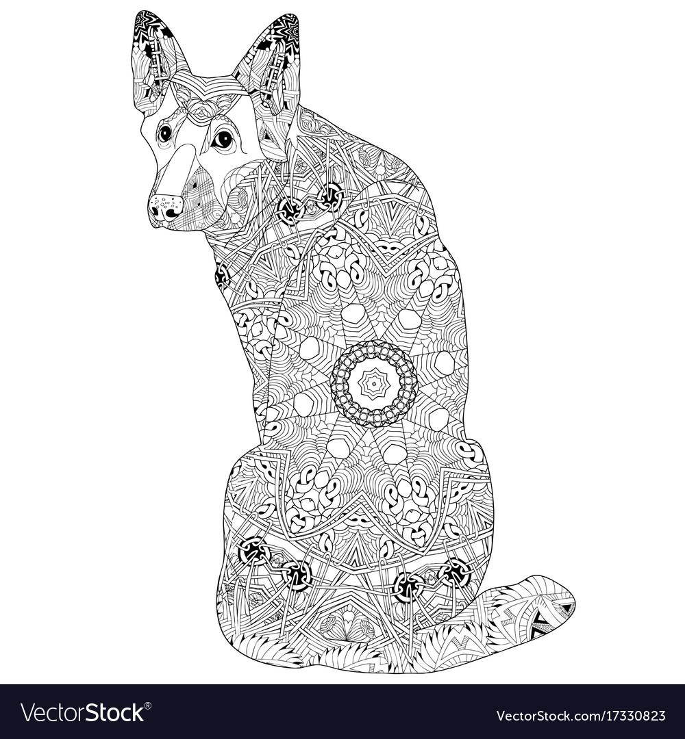 Zentangle stylized dog hand drawn lace