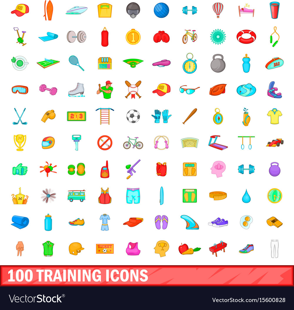 100 training icons set cartoon style