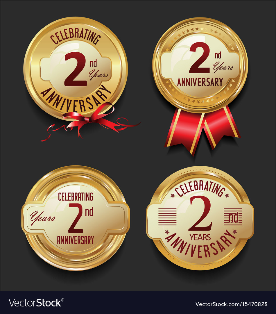 Anniversary retro golden labels collection 2 years