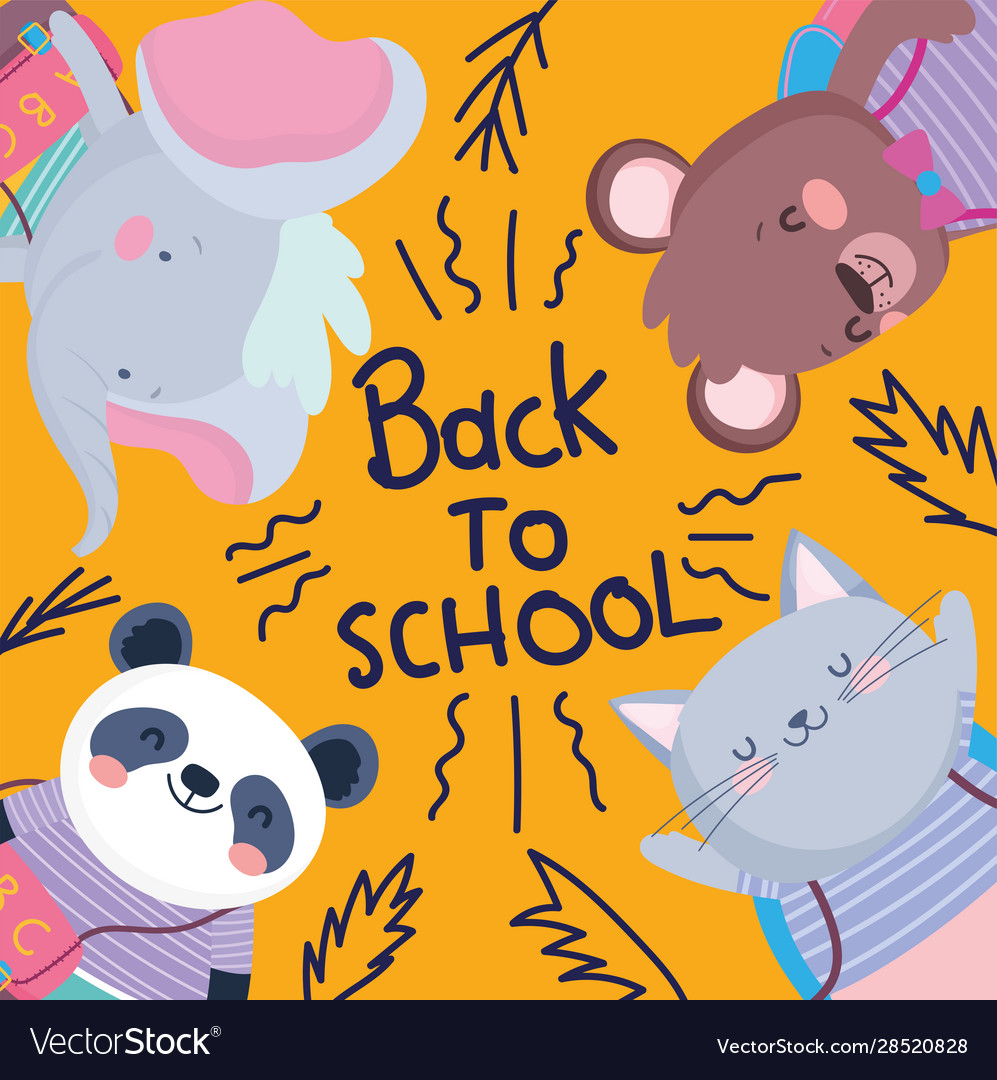 Back to school cute animals education lettering