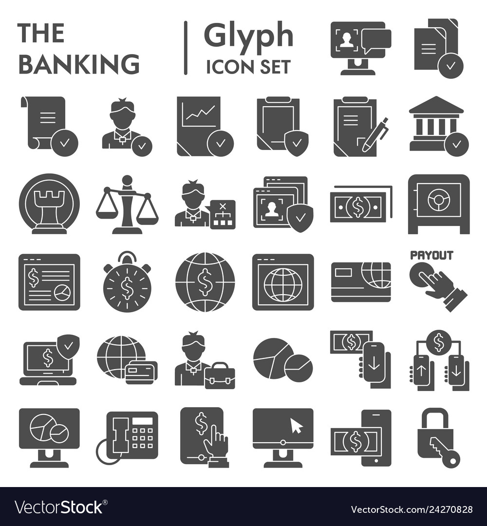 Banking glyph icon set finance symbols collection