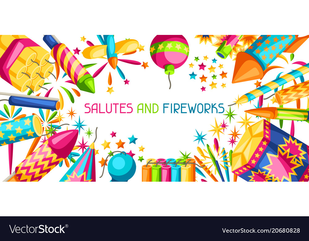 Banner with colorful fireworks different types of