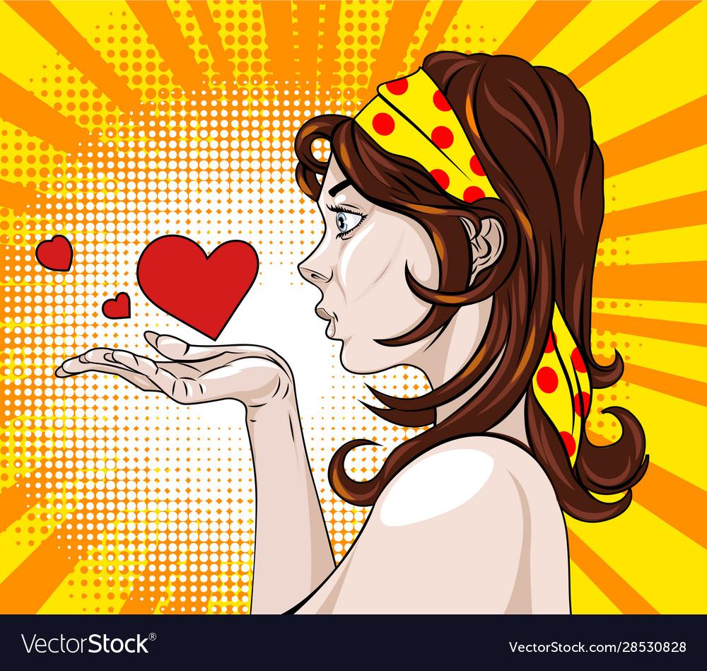 Brunette in profile sending air hearts comic book