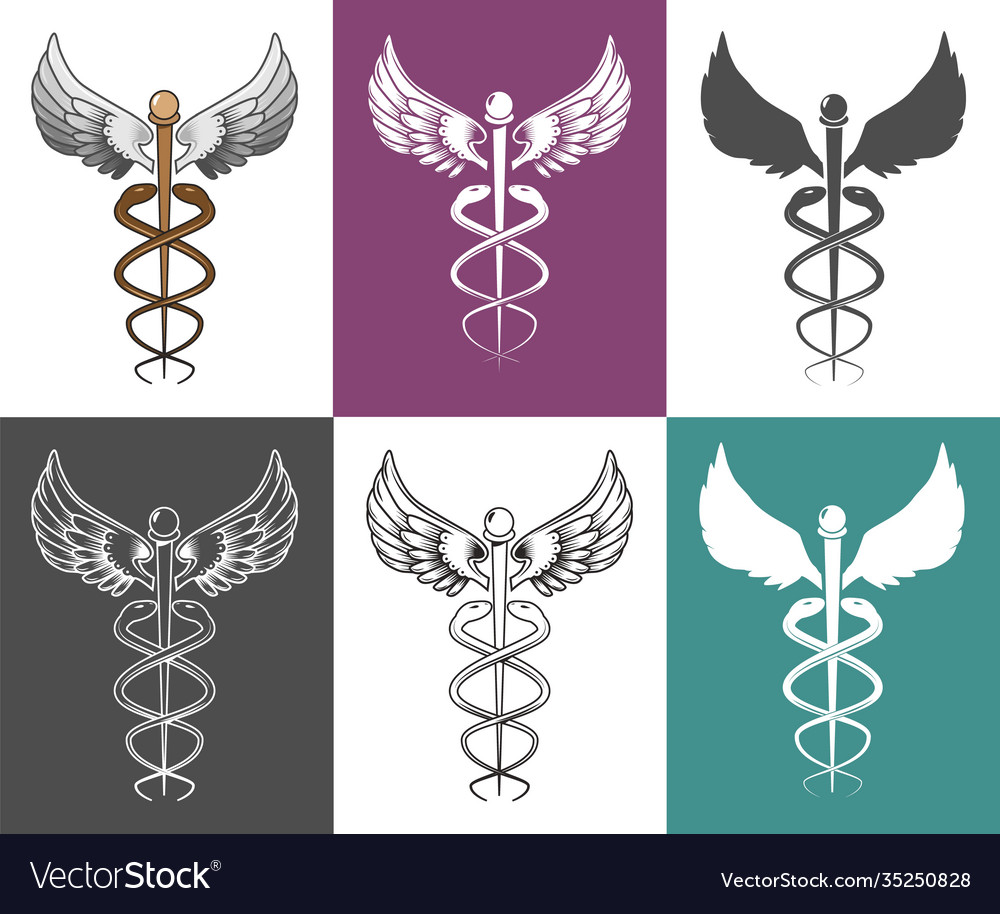 Caduceus medical symbol set isolated