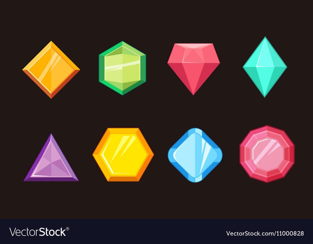 Cartoon gems jewels diamond brilliant set