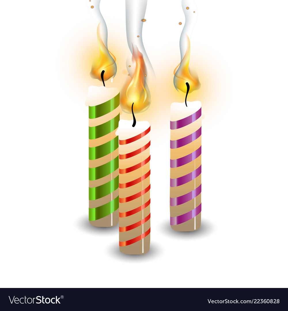 Christmas candle set flame realistic