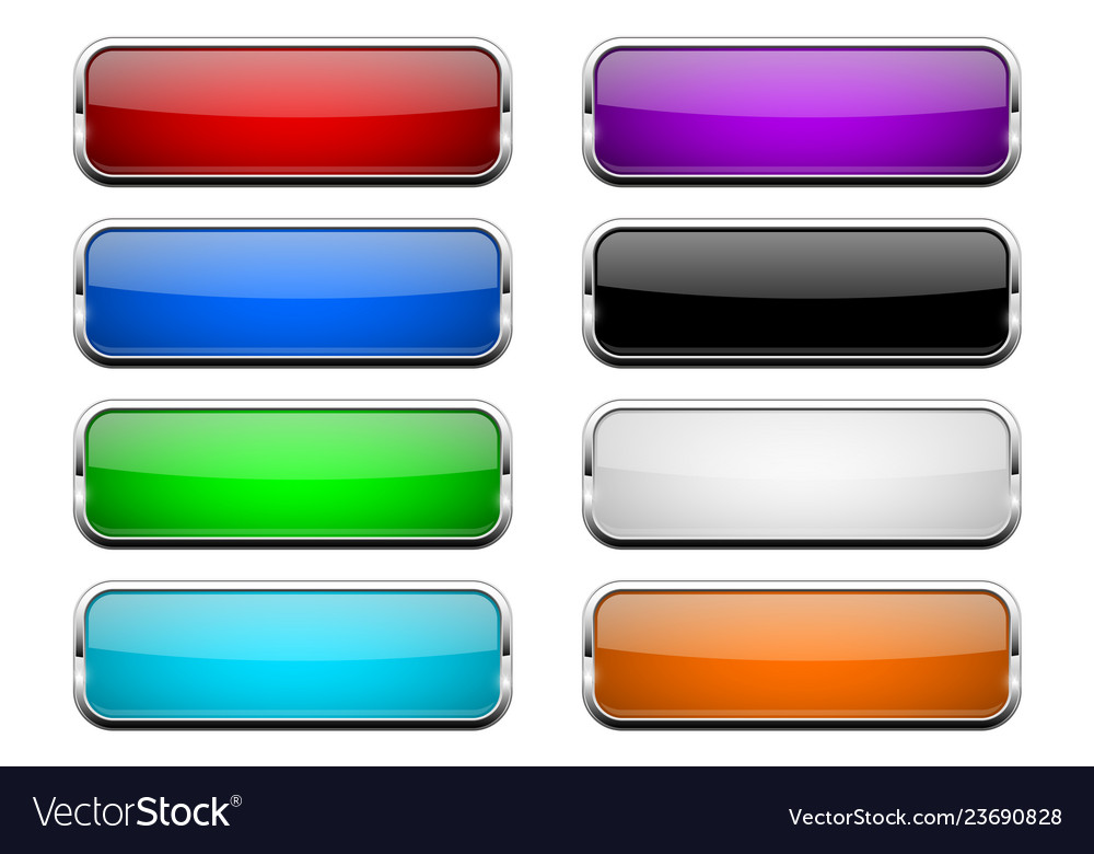Colored glass button shiny rectangle 3d web icons