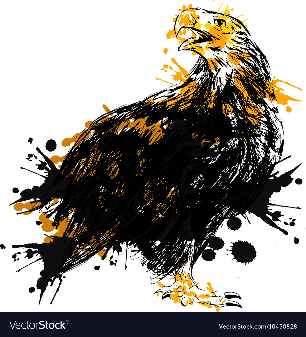Colored Hand drawing of an eagle