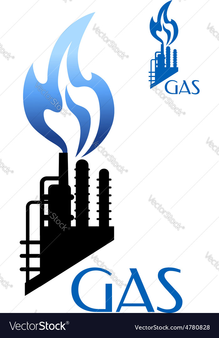 Gas and oil industry icon with factory silhouette vector image