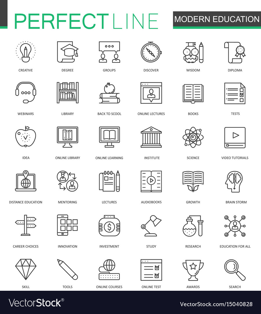 Modern education thin line web icons set online
