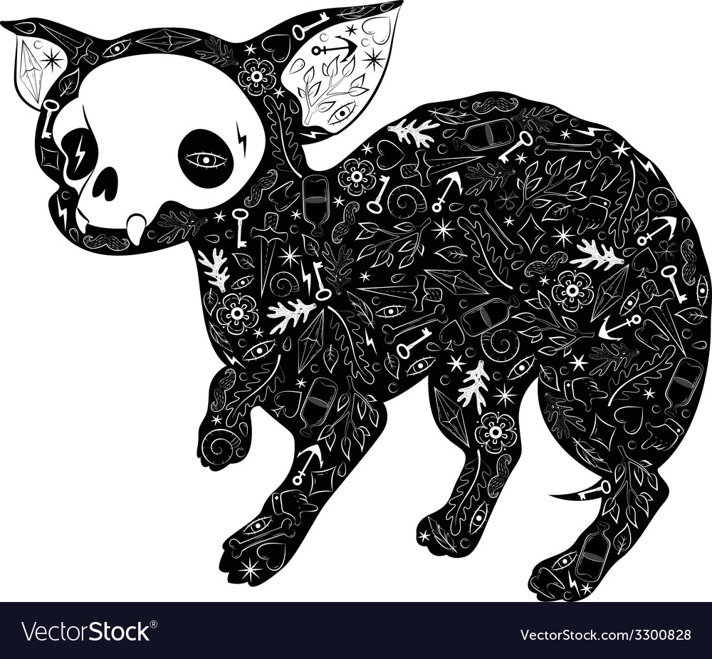 Small dog tattoo vector image