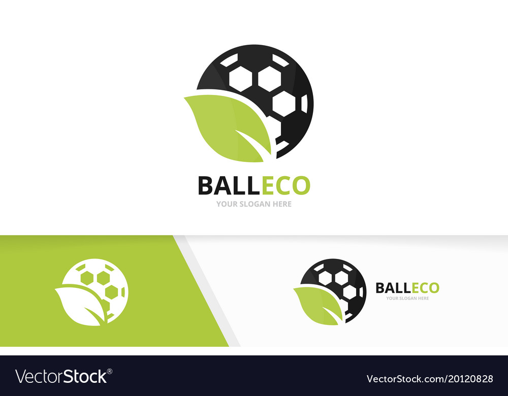Soccer and leaf logo combination ball and