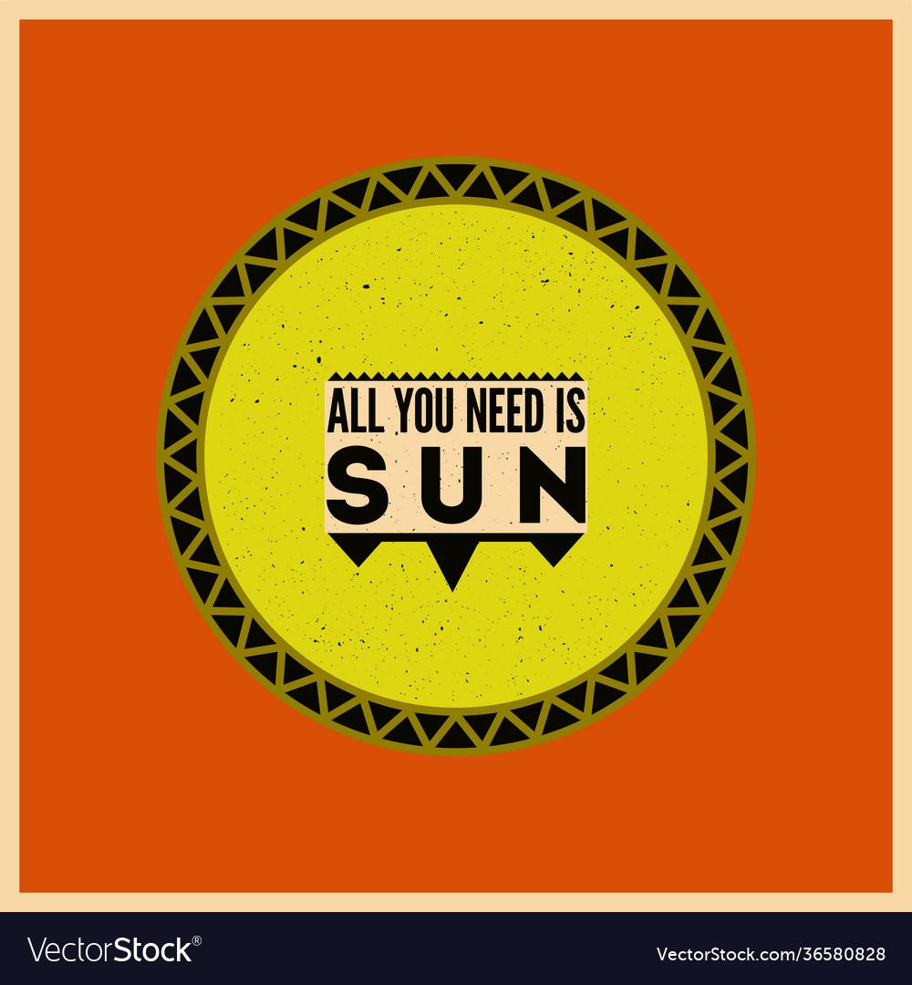 Summer sun typographical retro poster