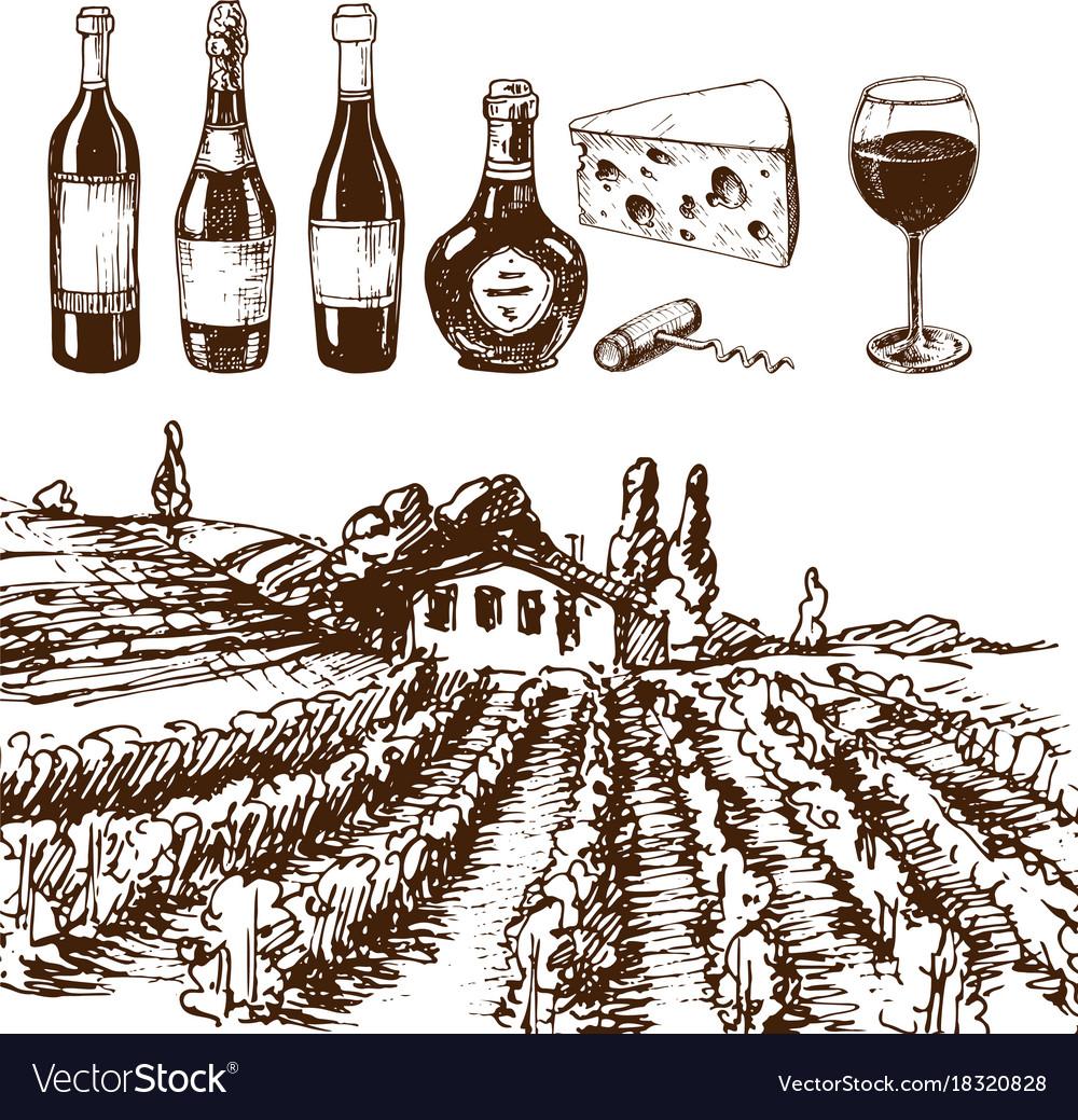 Vintage winery wine production handmade draft