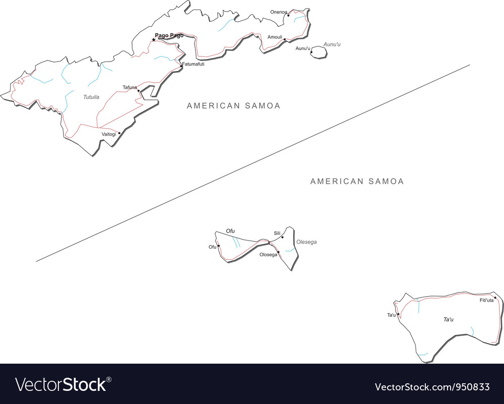 american samoa black white map vector image