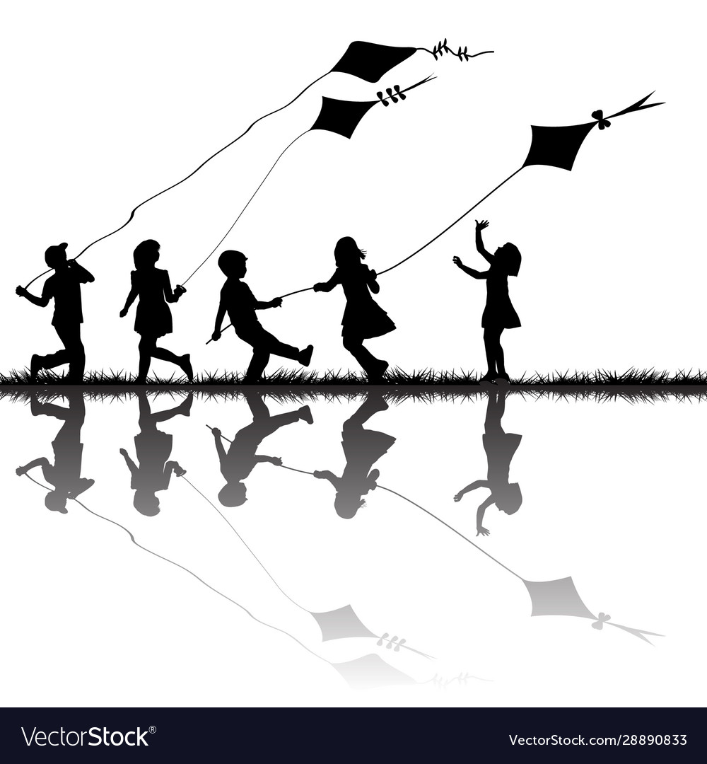 Children silhouettes playing with kites flying