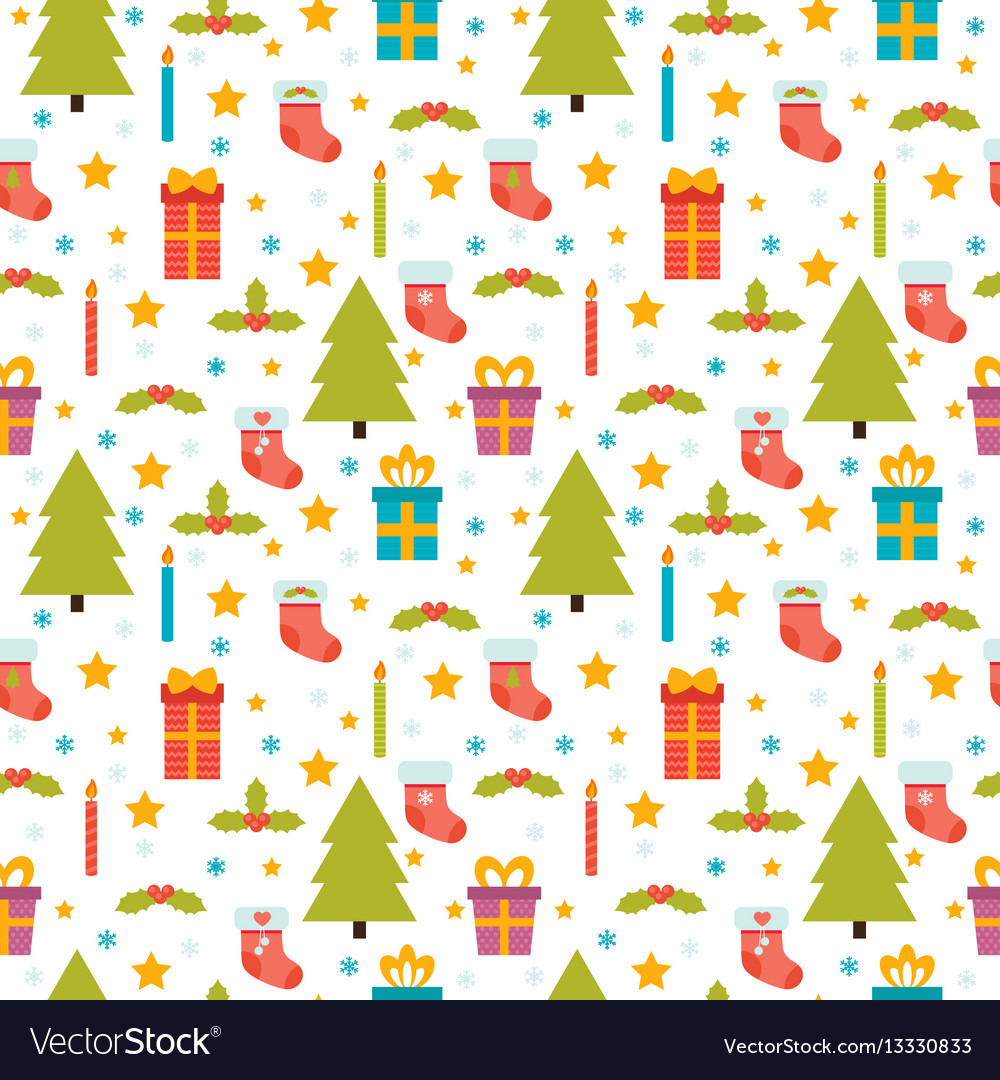 Christmas seamless pattern cute background with
