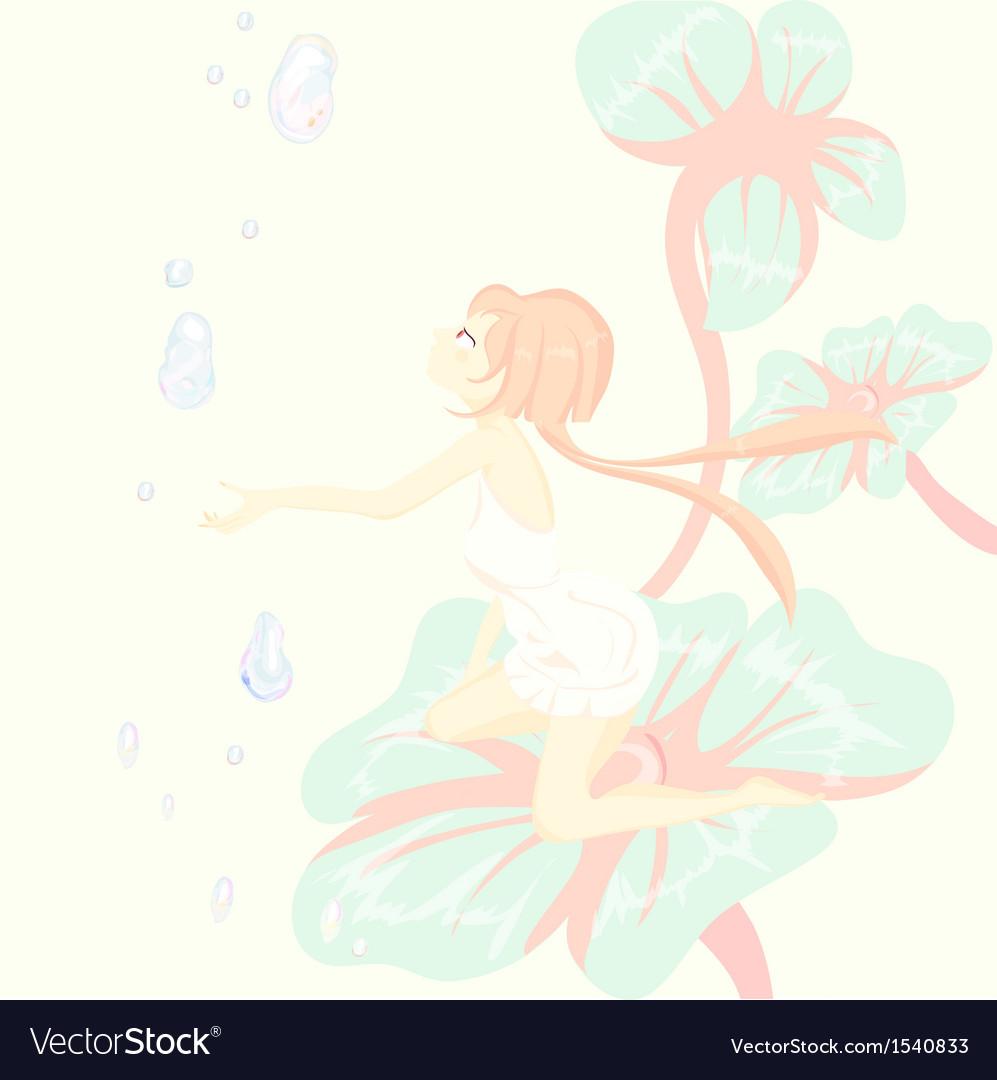 Fantasy fairy tale Thumbelina is sitting pretty on