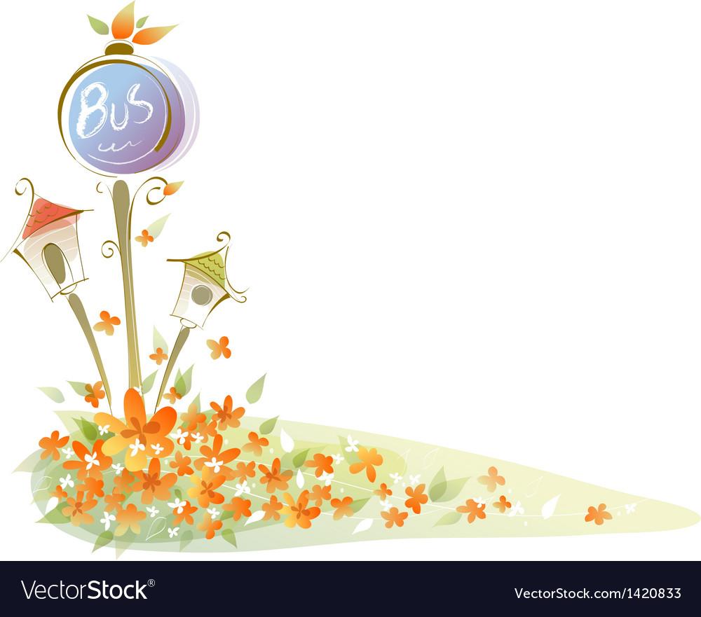 Flowers bus stop signboard vector image