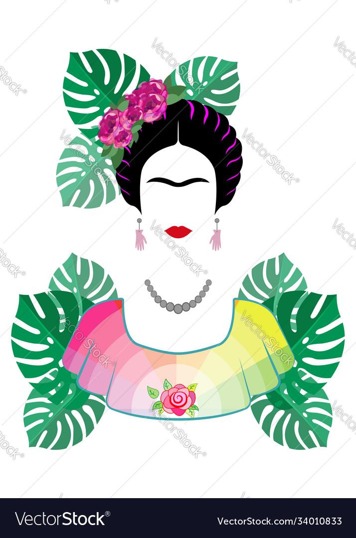Friday kahlo portrait isolated on white