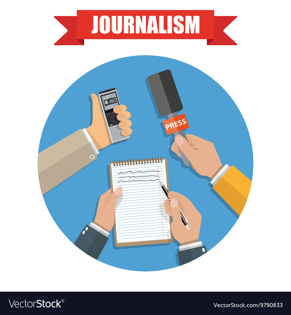 Mass media and press conference journalism icon