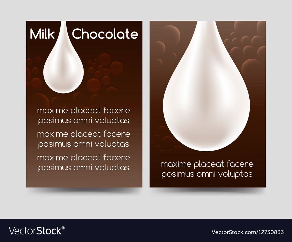 Milk chocolate drop brochure design vector image