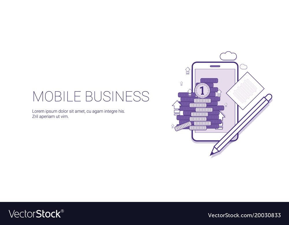 Mobile business web banner with copy space digital
