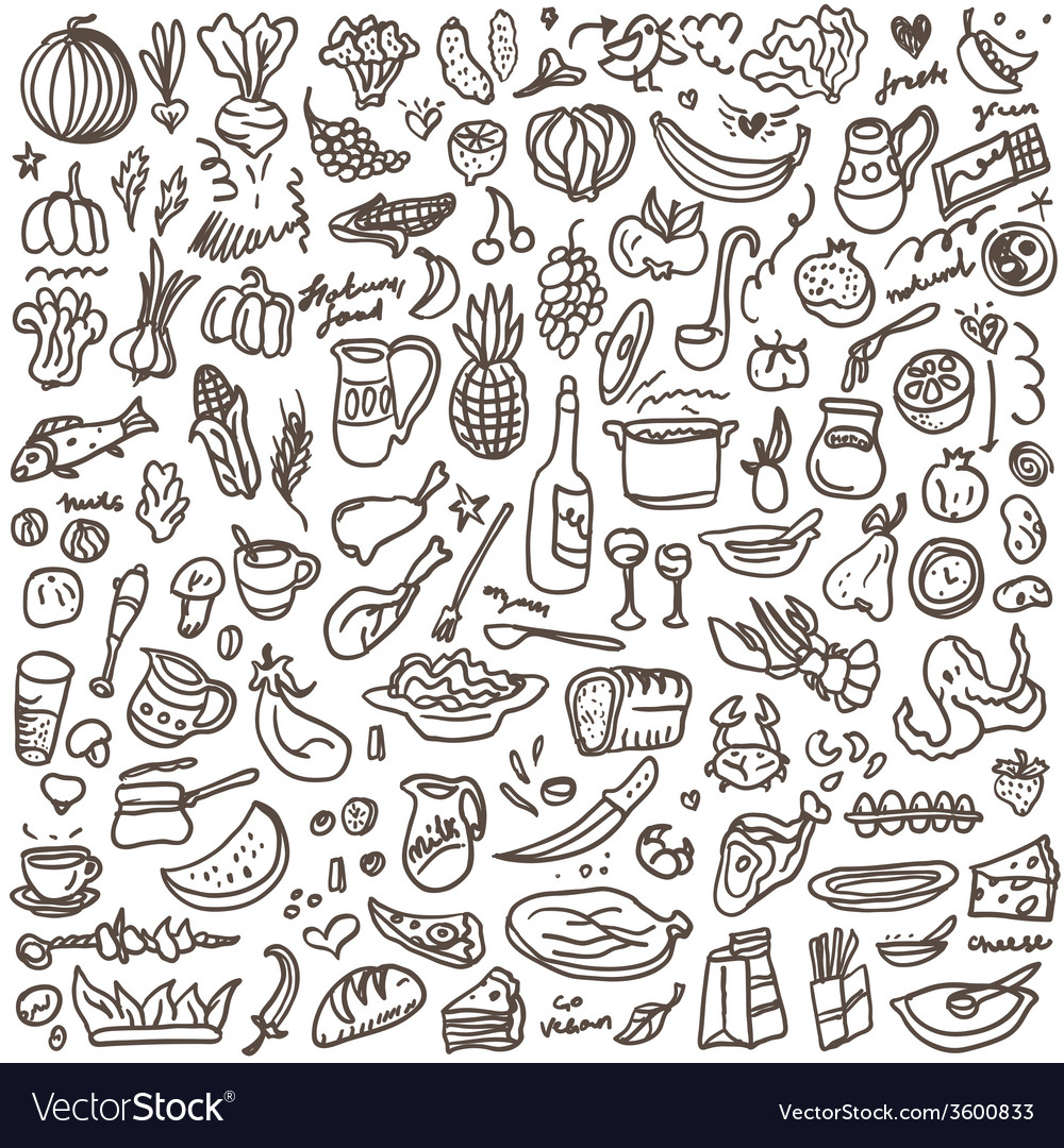 Natural Food Doodles Set Royalty Free Vector Image