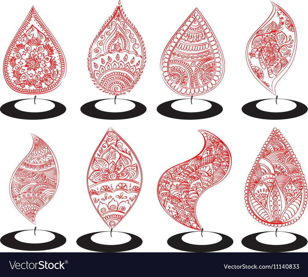 Oil Lit Lamp Set With Henna Patterns Royalty Free Vector