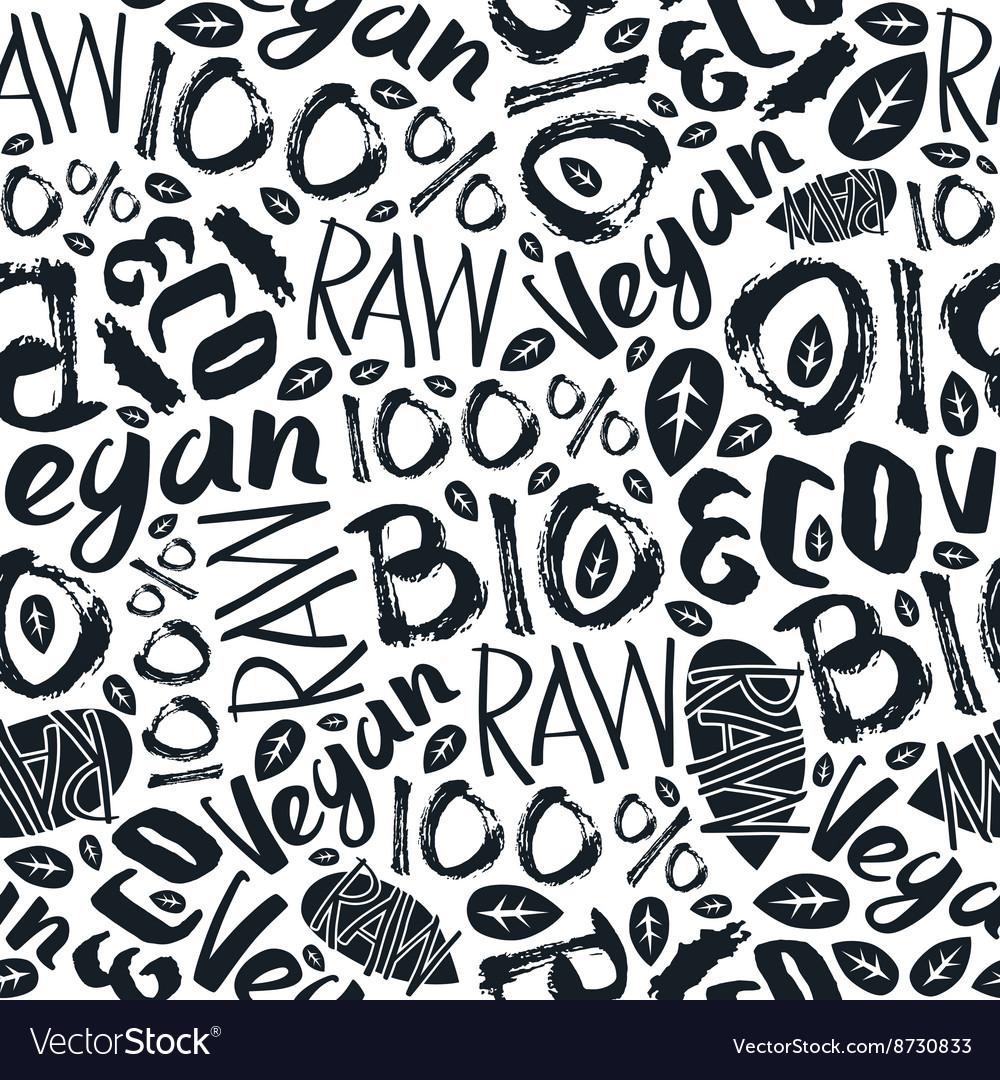 Raw vegan seamless pattern