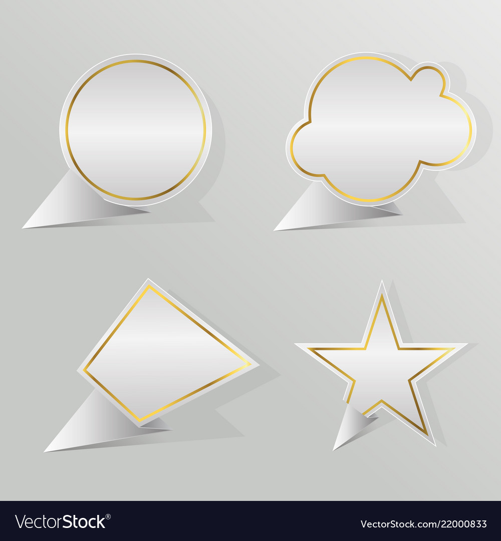 Set golden border blank template speech bubbles