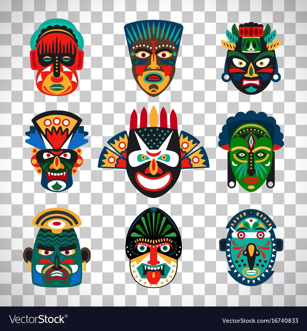 Tribal indian or african colorful masks Royalty Free Vector