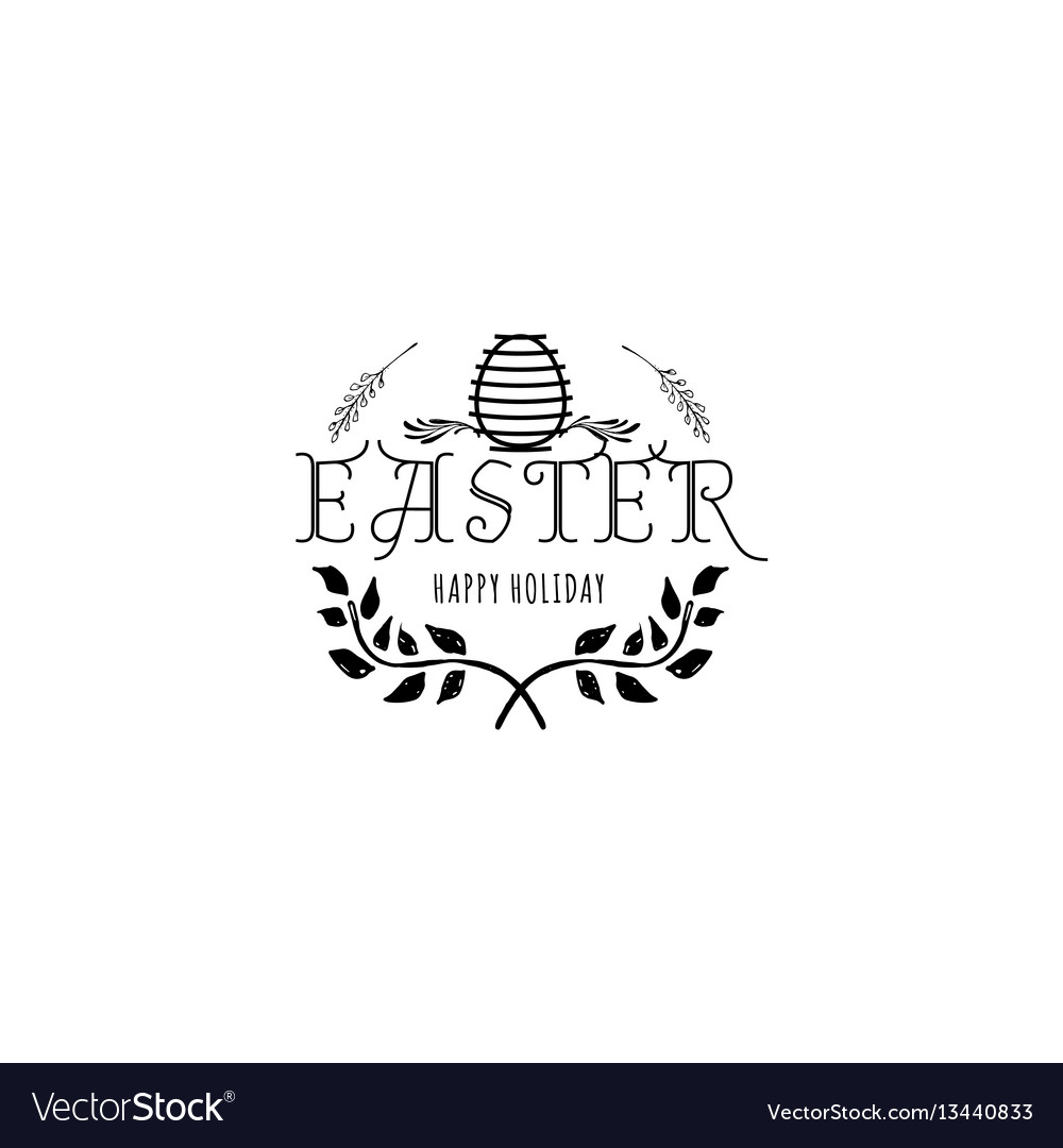 Typographic badges - happy easter on basis of