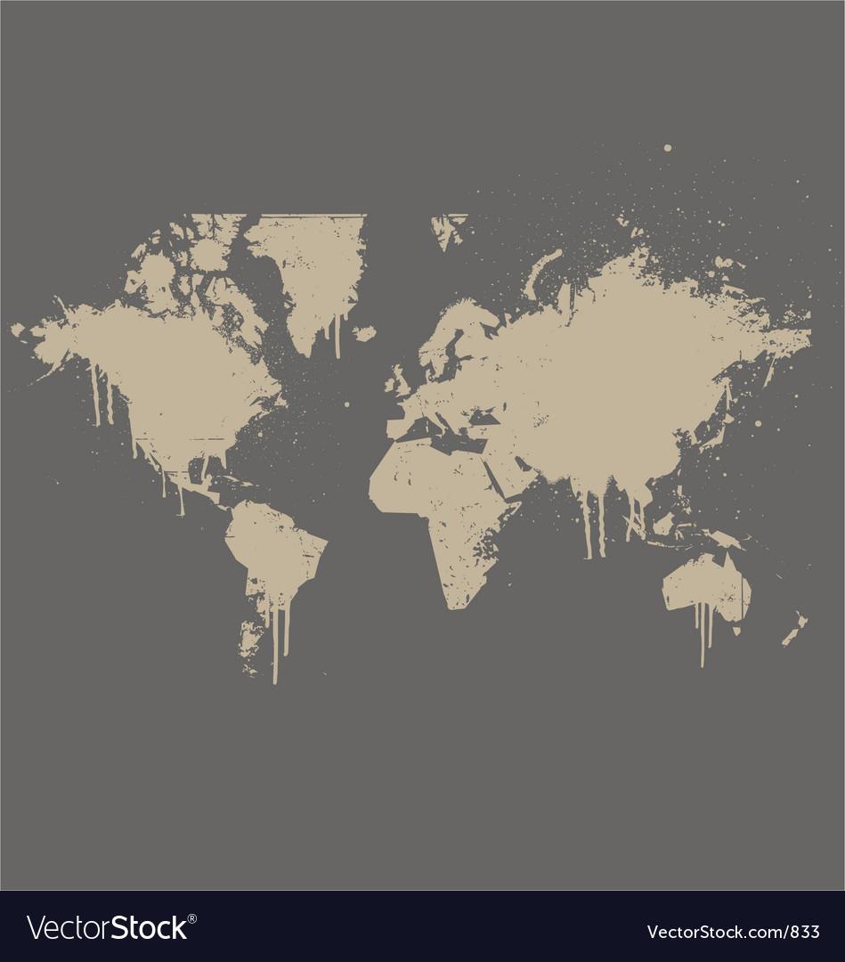 World map grunge spray version