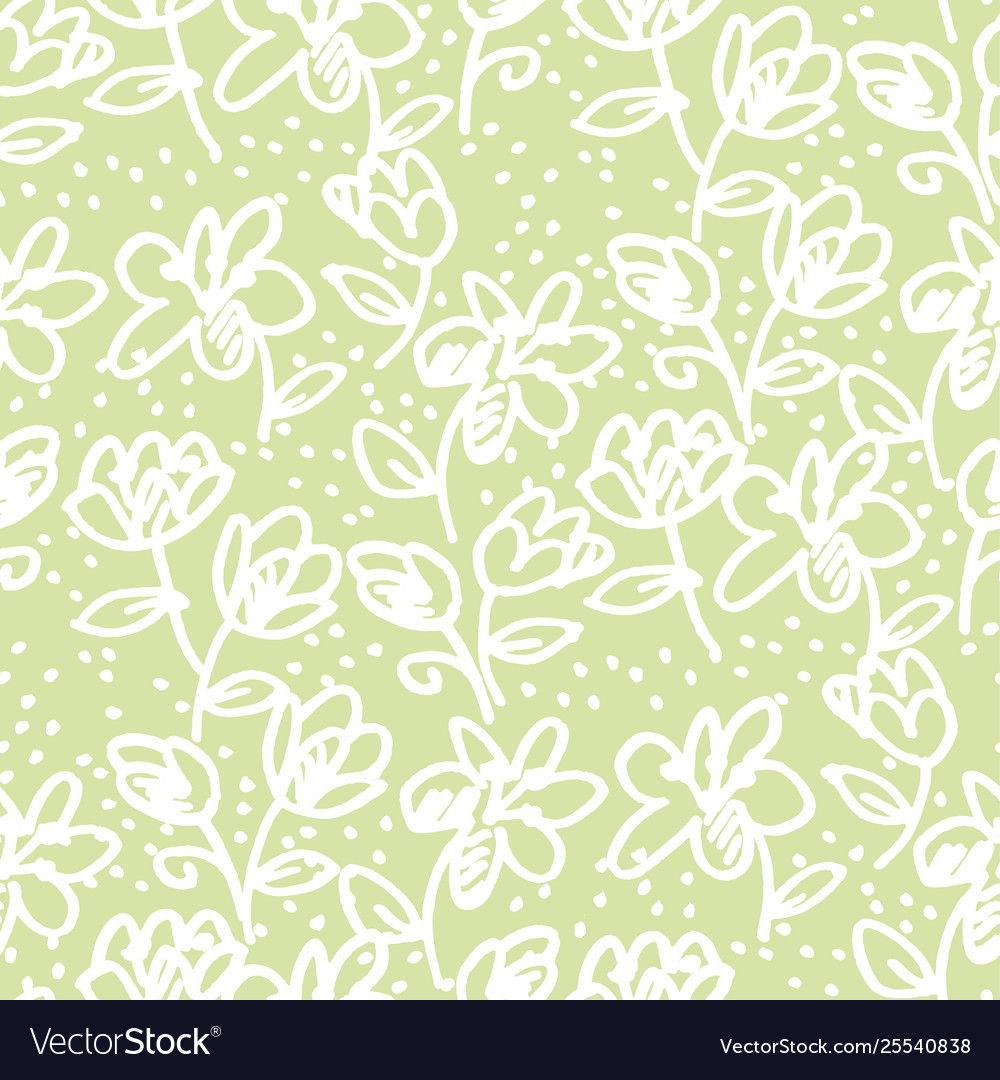 Abstract flowers marker sketch seamless pattern