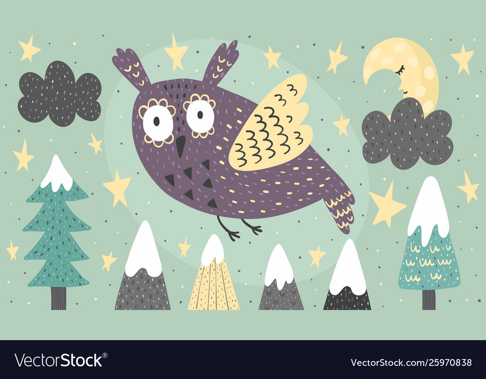 Banner with a fantasy owl flying at night