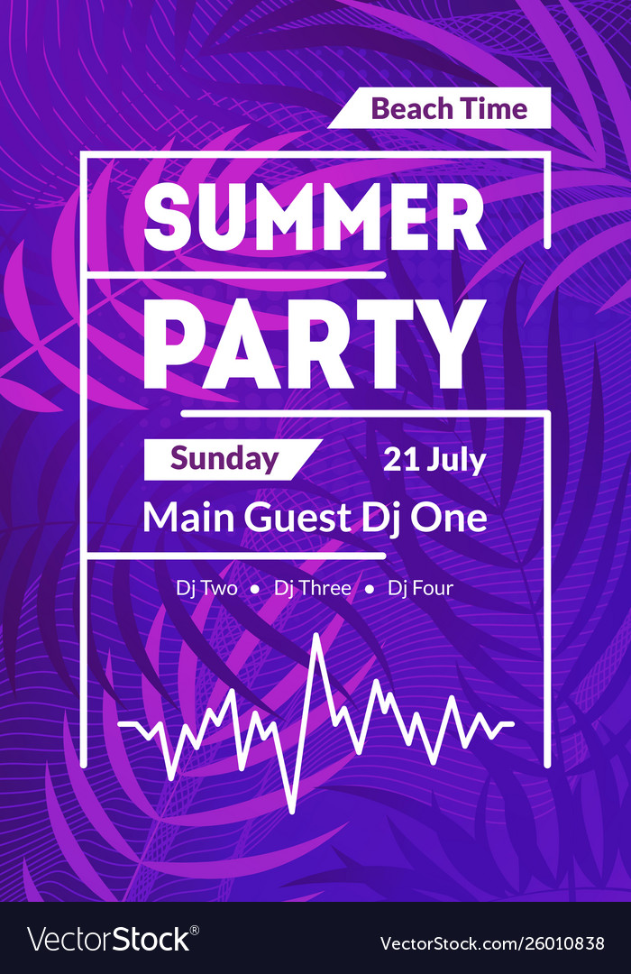 Beach summer party card poster banner