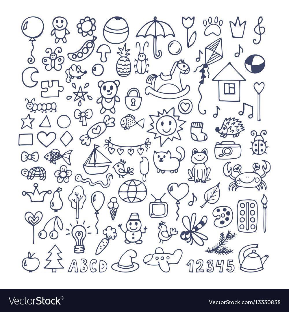 Collection of hand drawn cute doodles doodle
