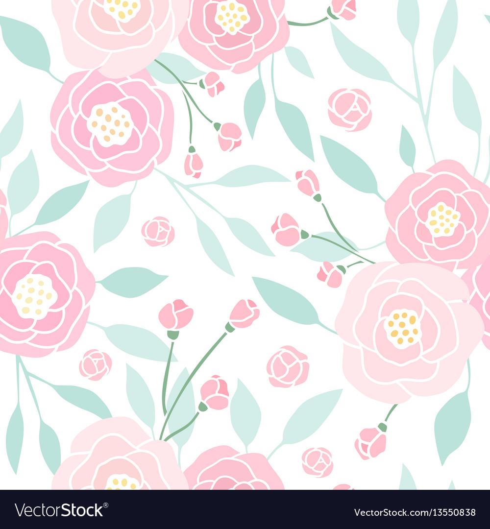Cute pink peony seamless pattern