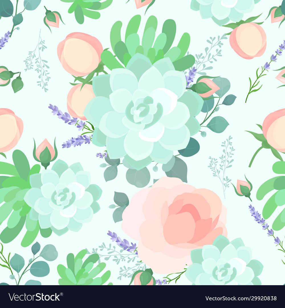 Floral flat pastel color seamless pattern