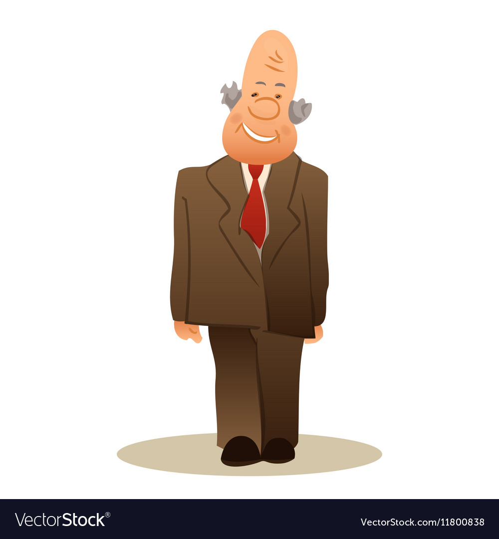 Funny old man stands Business elderly man smiling