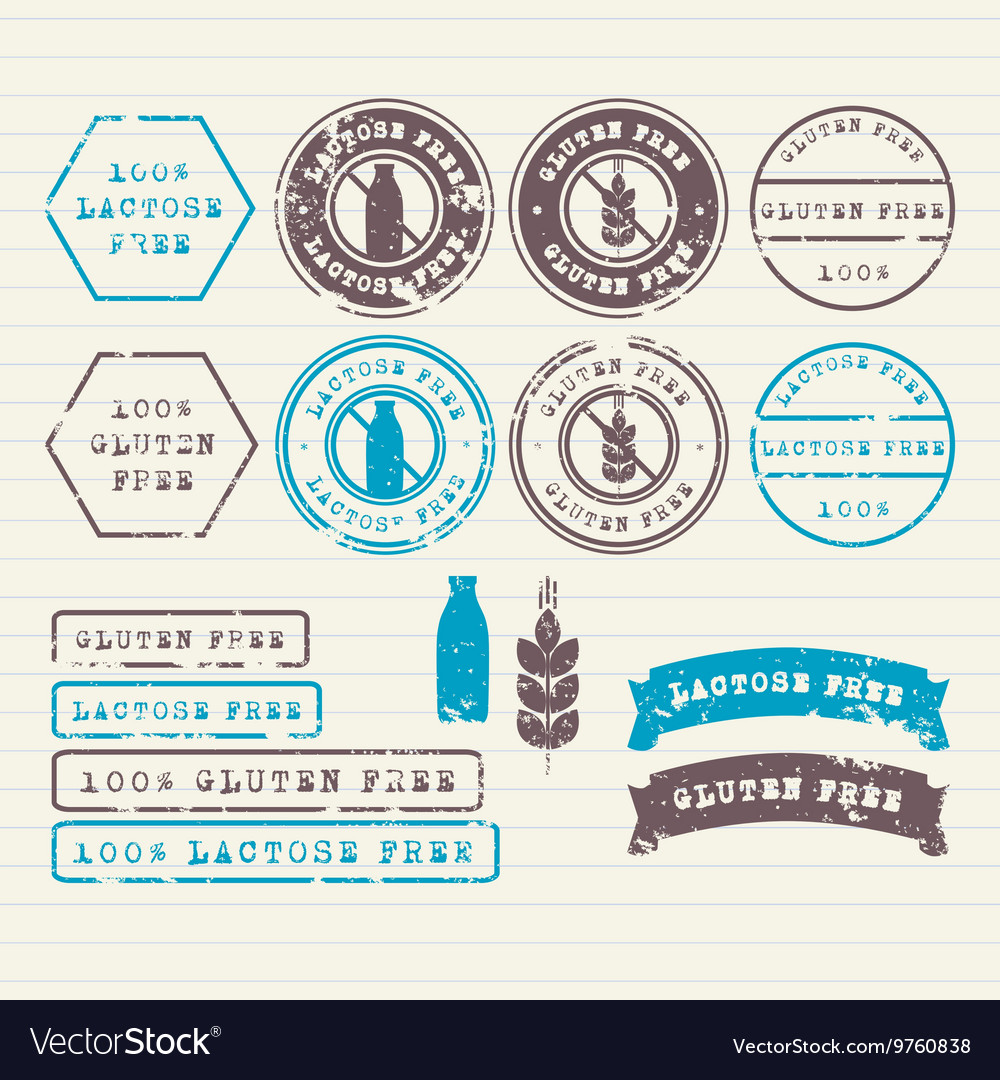 Gluten and Lactose free stamps set vector image