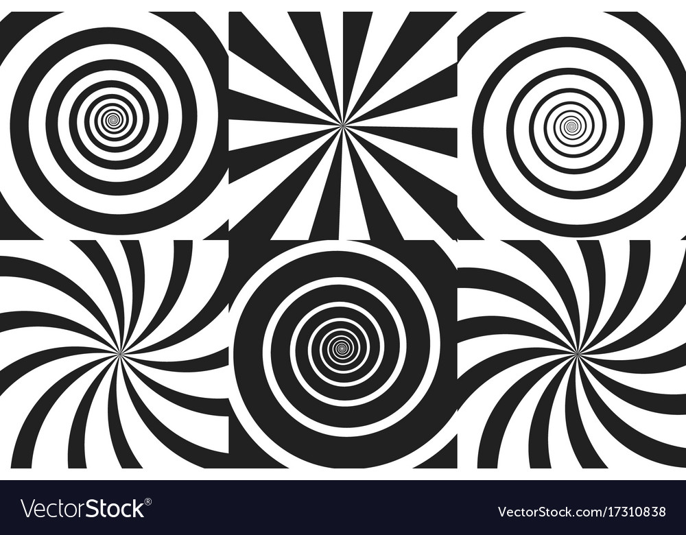 Horizontal banner set of psychedelic spiral with