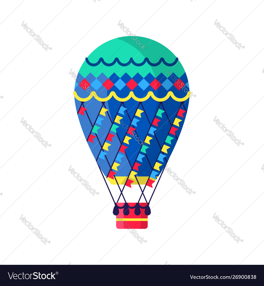 Hot air ballon in flat style