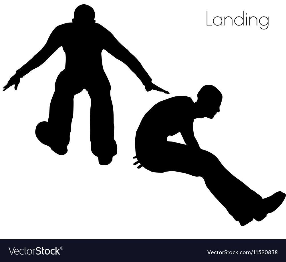 Man in landing action pose vector image