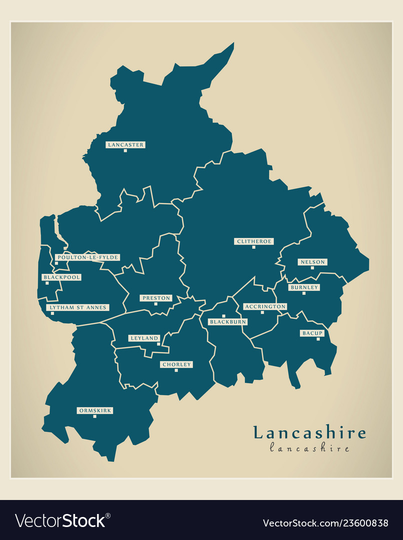 Map Of England Districts.Modern Map Lancashire County With Districts